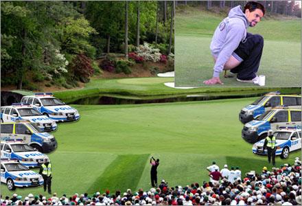 En golfturnering i Lidingö med maximal polisbevakning.