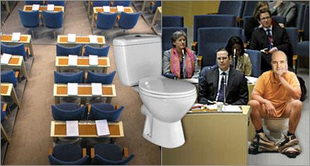 Riksdagsledamöter kan nu uträtta sina behov direkt vid sin plats.