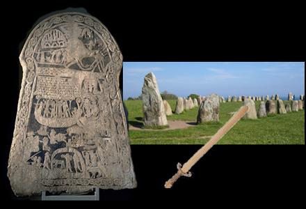Vikingatida bildsten med torrodd, skeppssättning i sten och träsvärd.