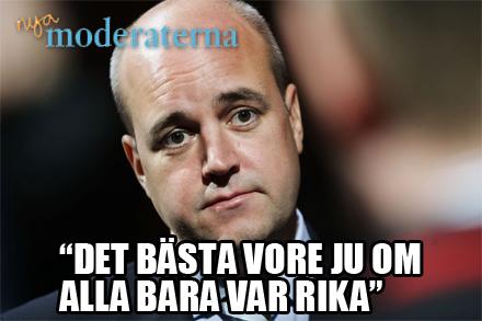 Reinfeldt kom på ny kampanjslogan på söndagen.