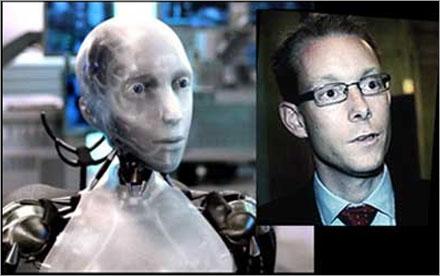 Vid en närmare granskning syns tydligt att Billström verkligen är en robot.