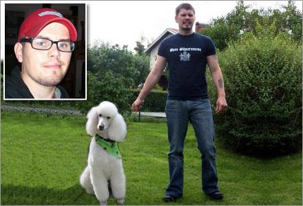 Bimpa i sällskap med sin hund Fifi, en kungspudel som alltid bär grön sjal.
