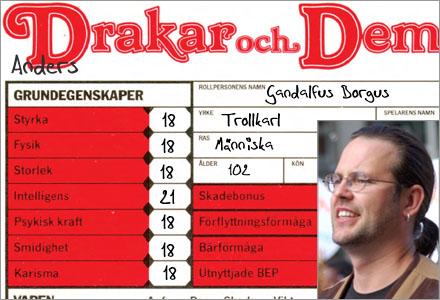 Borgs rollformulär från 1985 visar på uppenbart fusk i rollspelet Drakar  och Demoner.