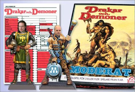 Drakar och Demoner Moderat innehåller förutom regler och tabeller för skatteavdrag även tennfigurer.