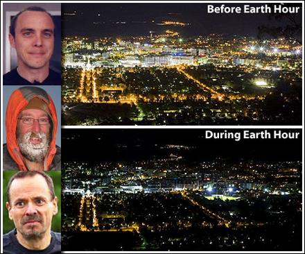 """Tre män som alla är upprörda över """"Earth Hour"""""""
