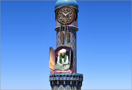 """Enligt det Schweiziska kompromissförslaget skulle Mullor """"kika"""" ut ur minareten vid olika klockslag."""