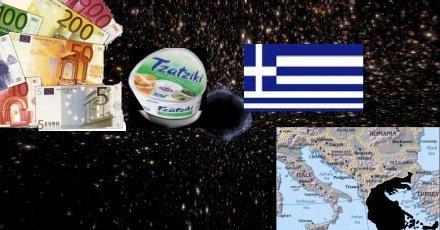 Svart tomrum där landet Grekland tidigare låg