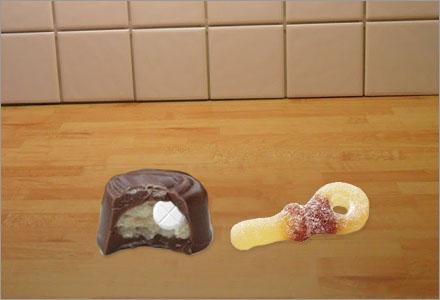 Chokladpralinen hade en Rohypnoltablett inuti sig.