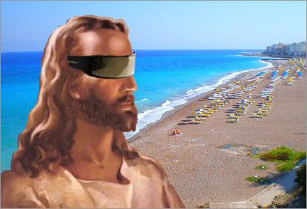 Vykortet är skickat från Rhodos runt tiden för Jesu korsfästelse och återuppstående.