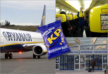 Ryanair fryser alla betalningar tills man fått ersättning för en utebliven påse med jordnötter.