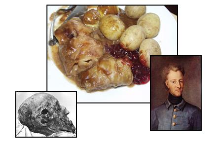 Spåret efter skottet som älskaren sköt syns än idag. Vi äter kåldolmar och firar den 30 november.