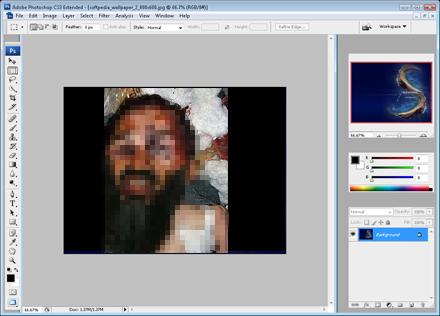 Photoshops interface med den förra, dåligt photoshopade bilden på bin Laden.