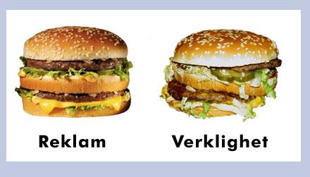 En Big Mac ser aldrig likadan ut i verkligheten som i reklamen.