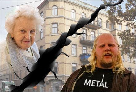"""Den 86-åriga kvinnan och grannen Kjell """"Slayer"""" Johansson som inte fick någon nattsömn."""