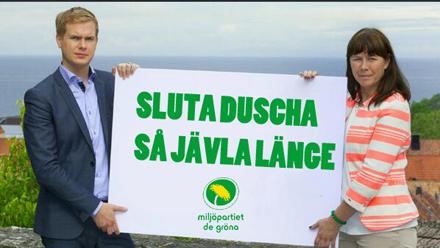 Duschförslaget var en av de frågorna Miljöpartiet gick till val på.