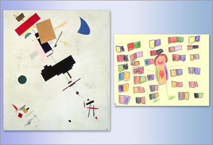 Målningen av Kazimir Malevitj samt en teckning av en åttaåring.