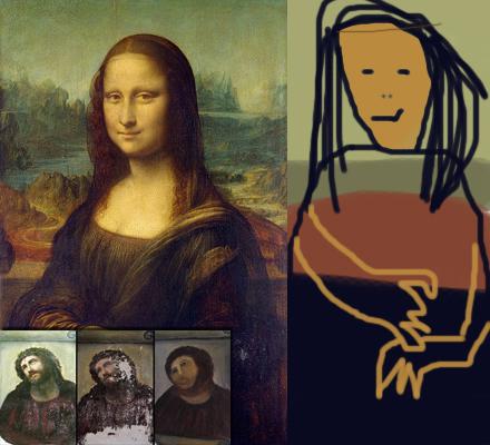 Mona Lisa av Leonardo da Vinci - och den restaurerade versionen av Lars Vilks.