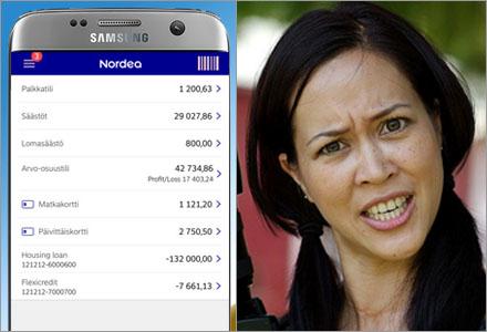 Nordeas app är nu enbart finskspråkig.