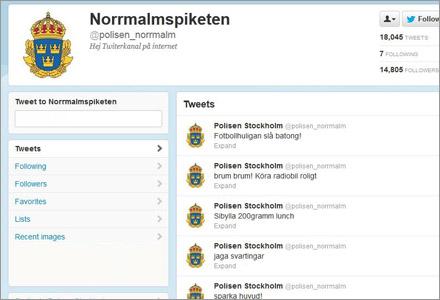 Norrmalmspiketens Twitterflöde är svårt att följa.