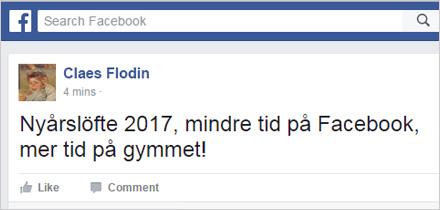 Claes har beslutat att minska sitt Facebookanvändande.