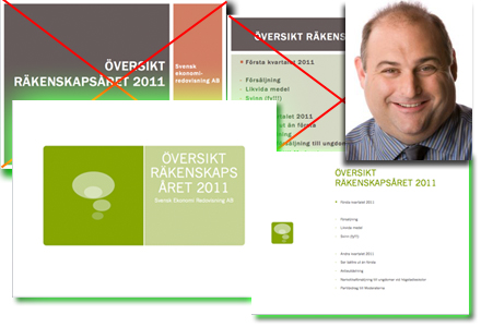 Ekonomichefen Lars-Erik kommer hädanefter att använda sig av det nya powerpointtemat.