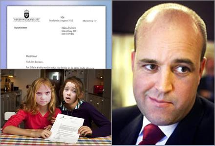 Reinfeldt svarar gärna på brev till blivande väljare.