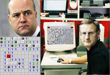 Carl Bildt smög in och använde Reinfeldts dator för att klå hans rekord i minröj.