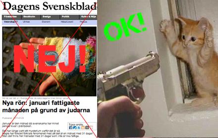 Svenskbladet slutar med satiren och letar roliga bilder istället.