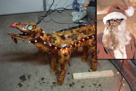 """En av renarna som Jultomten experimenterade med """"friterades""""."""
