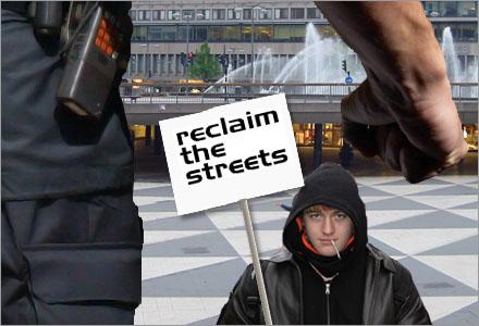 Den här gatuaktivisten kommer säkert bli lugnare och trevligare efter ett rejält kok stryk.