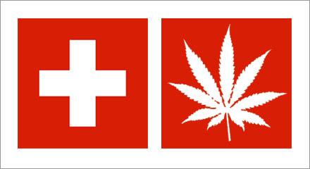 Den gamla Schweiziska flaggan samt förslaget på ny flagga.