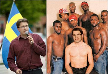 En barbröstad Åkesson poserar  med homosexuella vänner för att övertyga HBT-rörelsen..
