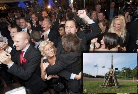 Sverigedemokraterna firar sedan de köpt en katapult på Blocket.