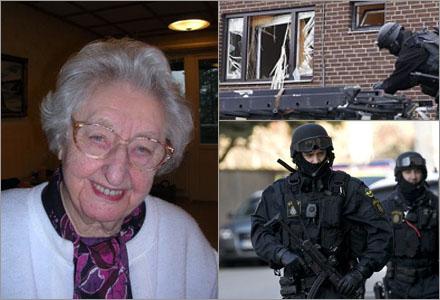 """Sara Svärdsén 95 år trodde det var """"rymdinvasion"""" när polisen kom in via ett fönster."""
