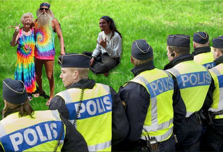 Polisen lyckades hålla festivalbesökarna lugna trots att det förekom många droger.