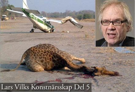 Lars Vilks kolliderade ett Cessnaplan med en av girafferna som representerade WTC.