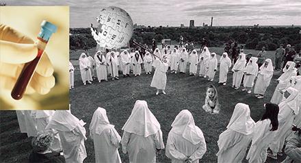 Wikipediamedlemmar iklädda vita kåpor har ett veckomöte.